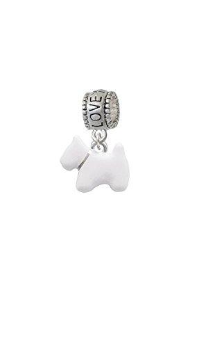 Silvertone White Westie Dog - Love You More Charm Bead ()