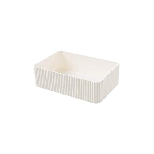 Plastic Separated Storage Box Skin Care Small Box Desktop Rectangle Cosmetic Storage Box,L Beige