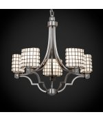Crom Argyle Wire Glass (Justice Design Group WGL-8500-30-SWCB-CROM Wire Glass Collection Argyle 5-Light Chandelier)