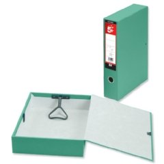 5 Star Office Box File Lock Spring with Ring Pull and Catch 75mm Spine Foolscap Green [Pack 5]
