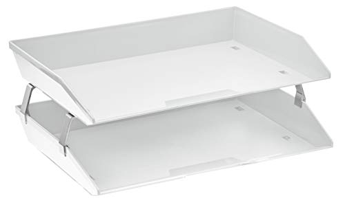 - Acrimet Facility 2 Tier Letter Tray Plastic Desktop File Organizer (White Color)