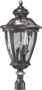 Quorum International 7221-5-45 Sloane 5 Light Outdoor Post Lamp in Baltic Granite with Hammered Clear Glass
