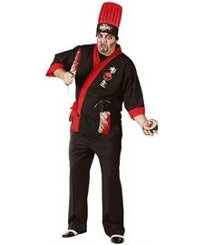Fun World Psycho Sushi Chef Adult Plus Costume Size Plus