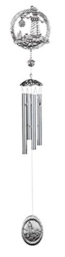 StealStreet SS-G-21027, 28 Inch Home/Garden Wind Chime with Lighthouse, Pewter - Silver Color ()