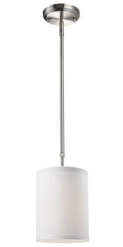 One Light Mini Pendant, Metal Frame, Brushed Nickel Finish and White Linen Shade of Fabric Material ()