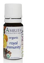 AMRITA Aromatherapy: Royal Immunity Synergy Essential Oil Blend - USDA Certified Organic Essential Oil Blend of Clove Bud, Lemon, Cinnamon Bark, Rosemary Cineol 1.8, Eucalyptus Radiata - Size: 10ML