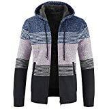 Men Colorblock Sweater Jacket Plus Velvet Padded Cardigan Striped Zipper Hoodie Outwear Fashion Clothing (M, - Colorblock Zipper