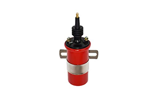 A-Team Performance Ignition Coil Spark Canister Oil Filled Male Red 45,000 Volts Universal Fit for High-Performance Distributors