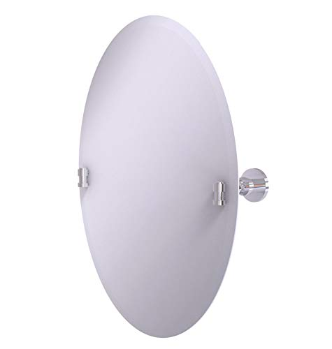 Allied Brass WS-91 Frameless Oval Tilt Beveled Edge Wall Mirror, Polished - Beveled Bathroom Frameless Brass Allied Tilt Oval Mirrors
