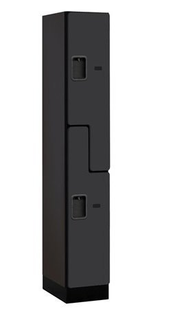 Salsbury Industries 2-Tier ''S-Style'' Designer Wood Locker with One Wide Storage Unit, 6-Feet High by 18-Inch Deep, Black