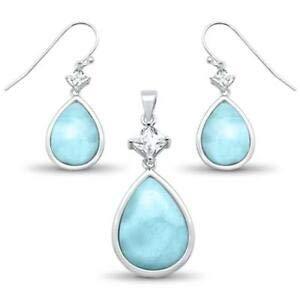 Natural Larimar & Cz Pear Shape Dangle Earring & Pendant 925 Sterling Silver Se - Jewelry Accessories Key Chain Bracelet Necklace -