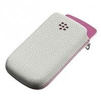 BlackBerry Torch 9800 White with Pink Accent Synthetic Leather Pocket Pouch