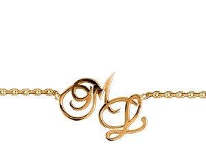 Collier initiales découpées en plaqué or (initiales modifiables).