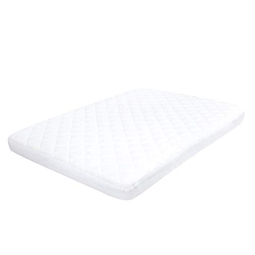 TILLYOU Cloudy Soft Pack N Play Mattress Pad Cover Waterproof - Mini Crib Mattress Pad Cover Breathable - Fitted Pack and Play Sheet Portable Mini Crib Sheet Protector - White ()