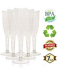 25 Premium Champagne Flutes ~ 7 Oz | Plastic Disposable Wine Glasses | Wedding Cocktail Party Cups | Champagne, Bloody Mary, Mimosa, Wine