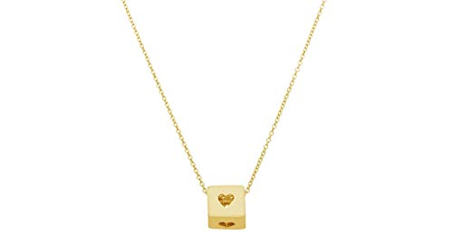Heart Cube 14k Gold Necklace with 16