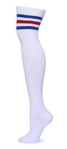 Leotruny Women's Triple Stripes Over the Knee High Socks
