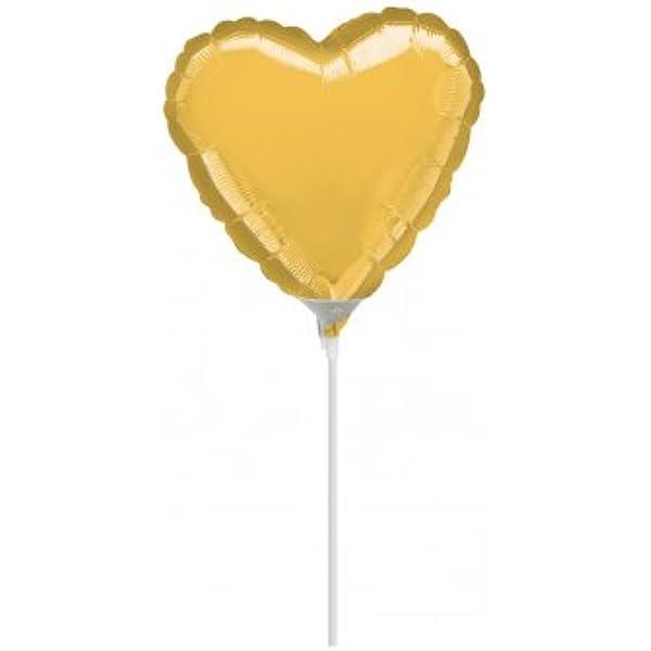 41085 1 pieza amscan Mini coraz/ón met/álico dorado globo decoraci/ón de fiesta