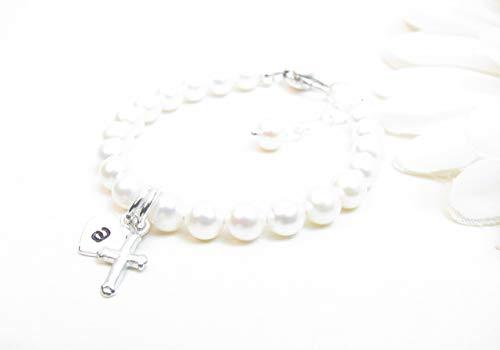 (Personalized Bracelet for Newborn Infant Baby Little Girl - Baptism or Christening Bracelet - Girl Baptism Gift - Girl Confirmation or First Communion Gift - Child Cross Bracelet - Pearl Baby Bracelet)