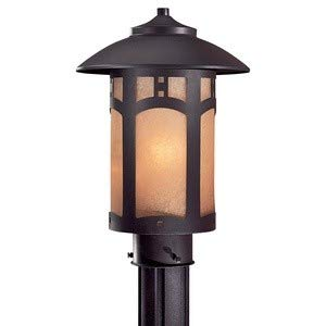Minka Great Outdoors 8726-A615B Harveston Manor - One Light Outdoor Post Mount, Dorian Bronze Finish with French Scavo Glass ()