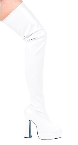 Schoenen 5 Inch Dikke Hiel Dij Hoge Stretch Laarzen (wit; 7)