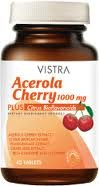 Vistra Acerola Cherry 1000 Mg. Plus Citrus Bioflavonoids 45 Tablets : 2 Bottles
