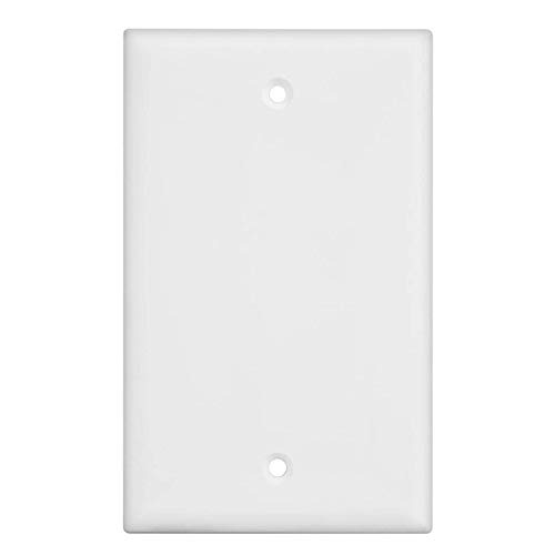 Blank Wall Plate Cover, 1 Gang Faceplate, Thermoplastic/Nylon Outlet Cover, Cover Unused Phone Jacks, Electrical Boxes, Receptacles, Electric Outlets (1 Pack, White)