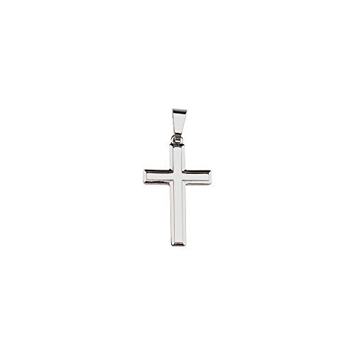 Sterling Silver Rhodium Plated Large Square Embossed Cross Pendant