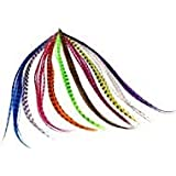 Mixed color Synthetic Feather Hair Extension Kit Multi Mixed color 50 Micro Beads & hook Tool Kits-24pcs