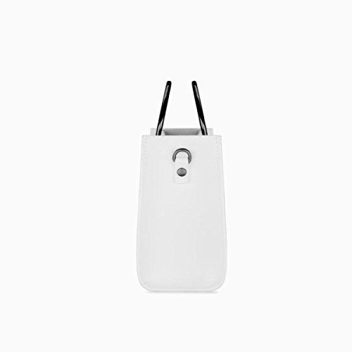 Mujer Bolso Retro Metal Ring Cuero Señoras Negro Blanco Mini Shopper Bolsa Señora Casual Campus Messenger White