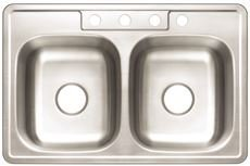 Premier 3562897 4-Hole Double Bowl Sink, 20-Gauge, Stainless Steel, 33'' X 22'' X 8'', 21.649 '' x 21.649 '' x 21.649'' by Premier
