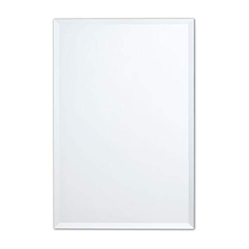 Frameless Rectangle Wall Mirror | Bathroom, Vanity, Bedroom Rectangular Mirror | 24-inch -