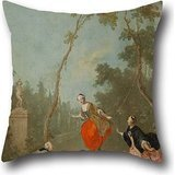 Pillow Shams Of Oil Painting Norbert Grund - Lady On A Swing - Gallant Scene In The Park I,for Girls,gf,family,dining Room,divan,gril Friend 18 X 18 Inch / 45 By 45 Cm(both Sides) - Needlepoint Accent Pillow