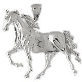 CleverEve 14K White Gold Running Horse Pendant 9.7 Grams