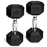 CAP Barbell Set of 2 Hex Rubber Dumbbell with Metal Handles, Pair of 2 Heavy Dumbbells Choose Weight (5lb, 8lb, 10lb, 15lb, 20 Lb, 25lb, 30lb, 35lb, 40lb, 50lb) (20lb x 2)