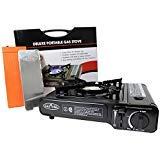 Gas ONE GS-3000 Portable Gas Stove with Carrying Case, 9,000 BTU, CSA Approved, Black (Stove + Windscreen) ()