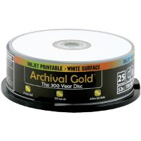 Delkin CD-R Inkjet Archival Gold - 700mb, 80 Minute, 25 Pack Spindle by Delkin