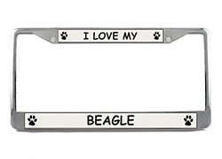 Beagle License Plate Frame<br>Durable metal construction with a shiny chrome finish