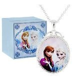 Creative Kids Disneys Frozen Elsa and Anna Silvertone Necklace and Pendant and Jewelry Music Box Plays Let It Go from Movie
