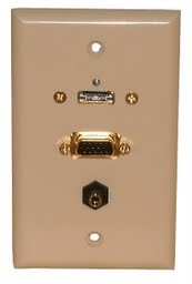 (Philmore Ivory Wall Plate with HDMI, VGA & 3.5mm Stereo Connections, 75-631)