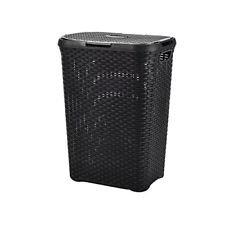 5c688040e6e Image Unavailable. Image not available for. Colour  Black 60L Litre Woven  Style Rattan Plastic Laundry Basket Bin Storage Box Gift