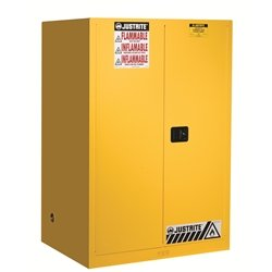 JUSTRITE MANUFACTURING 899020 Yellow 18 Gauge CR Steel Sure-Grip EX Flammable Safety Cabinet with 2 Self-Close Door, 90 gal Capacity, 43