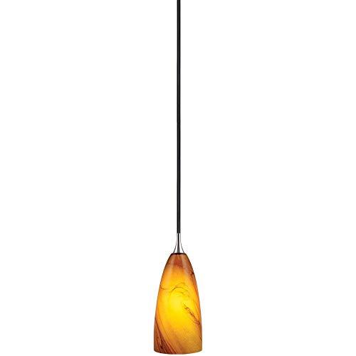 1 Light Honey Pendant - Vaxcel PD30133SN Milano - One Light Mini-Pendant, Satin Nickel Finish with Honey Ripple Glass