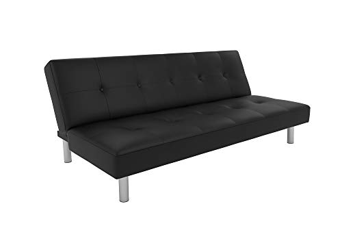 (DHP Nola Futon Couch with Tufted Faux Leather Upholstery, Modern Style, Black Faux Leather)