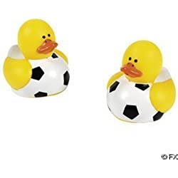 Two Dozen (24pc) Soccer Rubber Duck Party Favors
