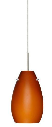 - Besa Lighting 1JT-412680-SN 1X100W A19 Pera 9 Pendant with Amber Matte Glass, Satin Nickel Finish