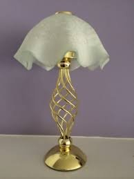PartyLite Retired Paragon Brass Spiral Tealight Candle Lamp - Frosted Scallop Glass Shade
