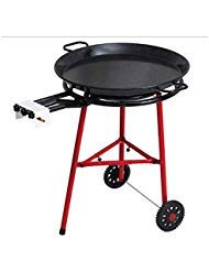 (Mabel Home Paella Pan + Paella Burner and Stand Set on Wheels + Complete Paella Kit for up to 20 Servings - 23.65 inch Gas Burner + 25.60 inch Enamaled Steel Paella Pan)