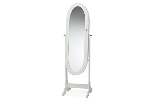 Contemporary Standing Cheval Mirror Jewelry Armoire in White