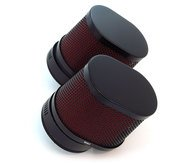 Black & Red Oval Air Filter - 54mm - Honda CB/CM400/450 CX/GL500/650 CB650/750/900/1000/1100 CBX